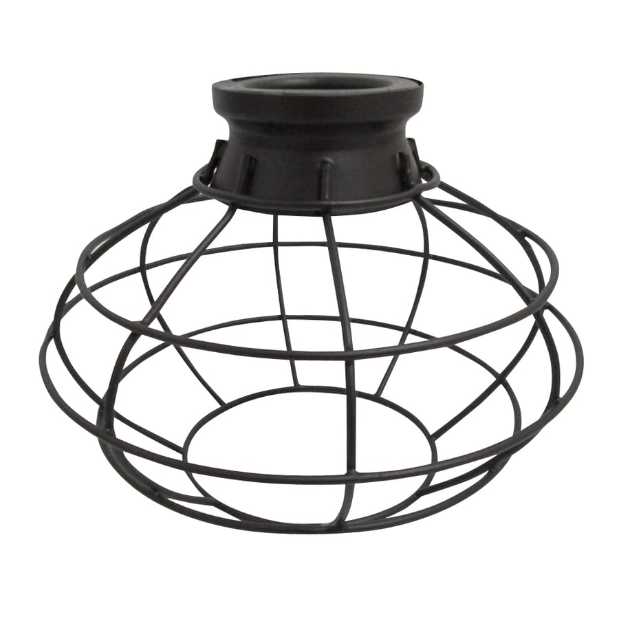 Shop light shades at lowes portfolio 675 in h 8 in w french bronze wire industrial cage pendant light greentooth Image collections