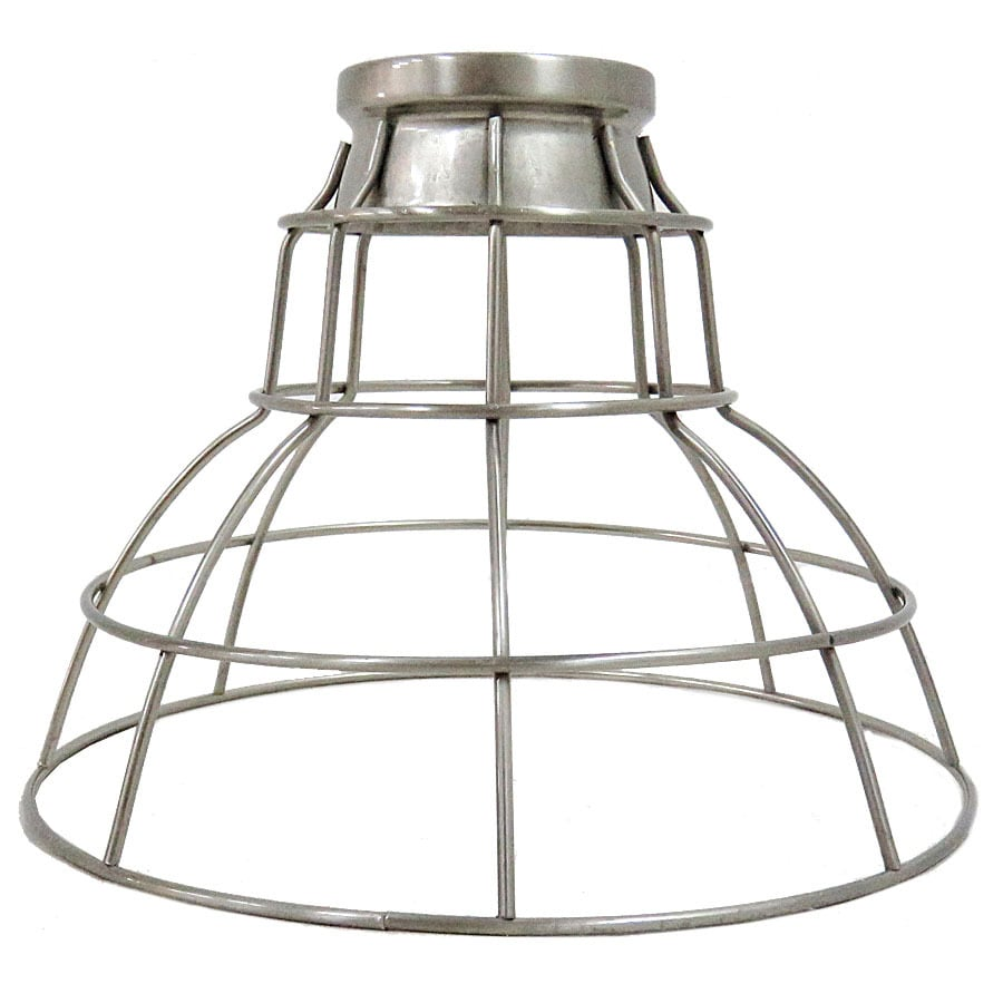 Portfolio 7-in H 9-in W Brushed Nickel Wire Industrial Cage Pendant Light Shade