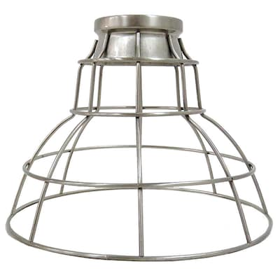 7 In H 9 W Brushed Nickel Wire Cage Pendant Light Shade