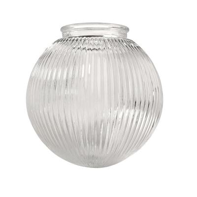 Litex 6 2 In H 6 3 In W Clear Ribbed Glass Globe Flush