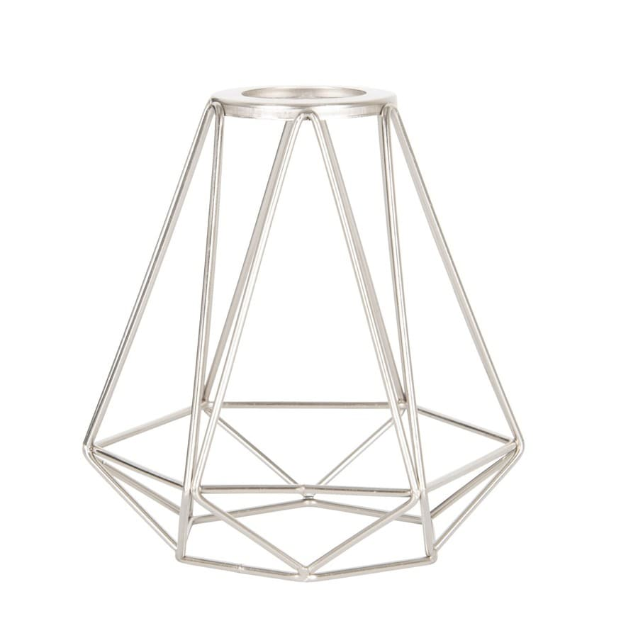 Shop light shades at lowes portfolio 6 in h 6 in w brushed nickel wire industrial geometric vanity light greentooth Choice Image