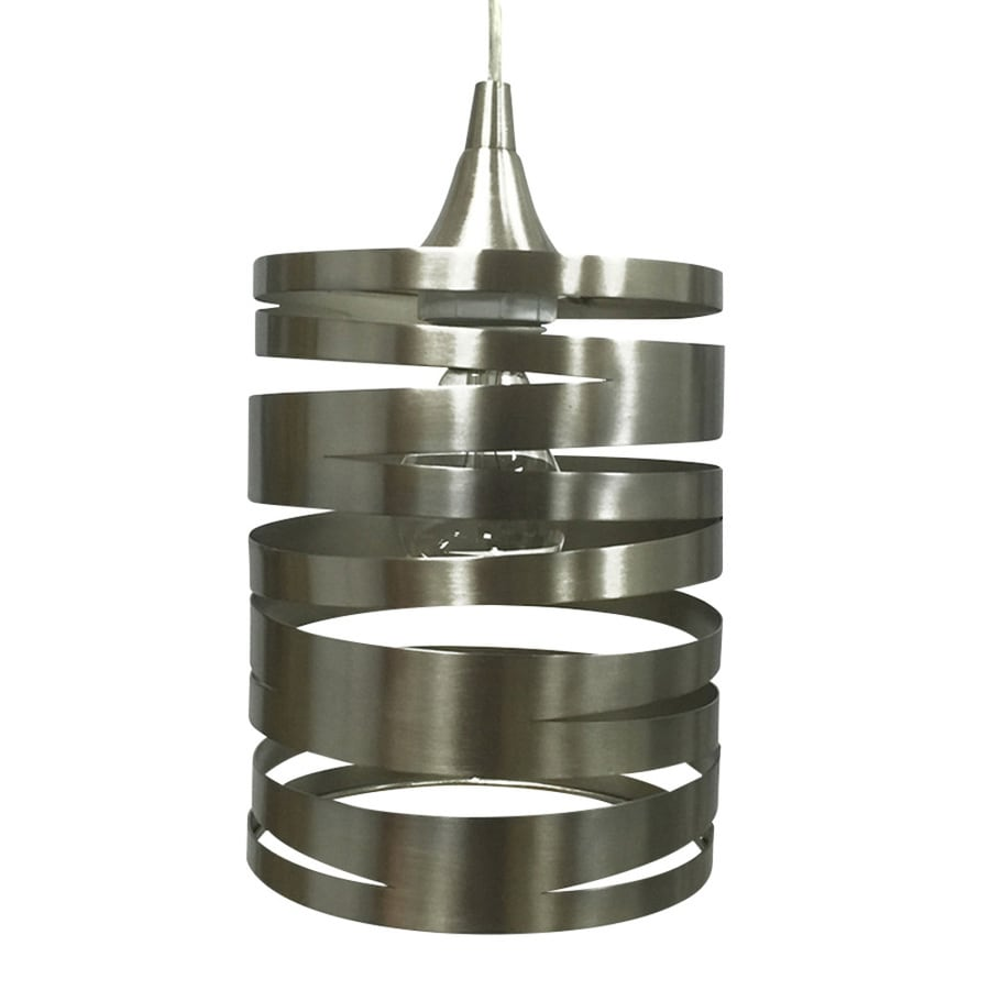 Portfolio 7.5-in H 6-in W Brushed Nickel Cylinder Pendant Light Shade