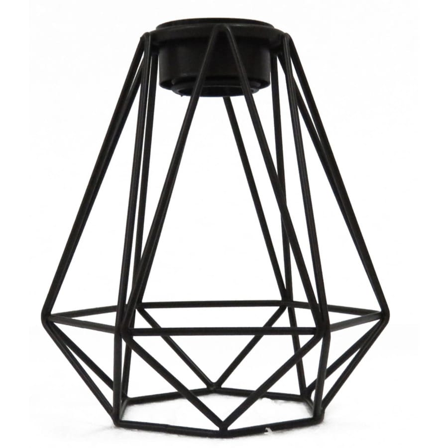 Shop Portfolio 8.8-in H 8-in W Black Wire Geometric Pendant Light ...