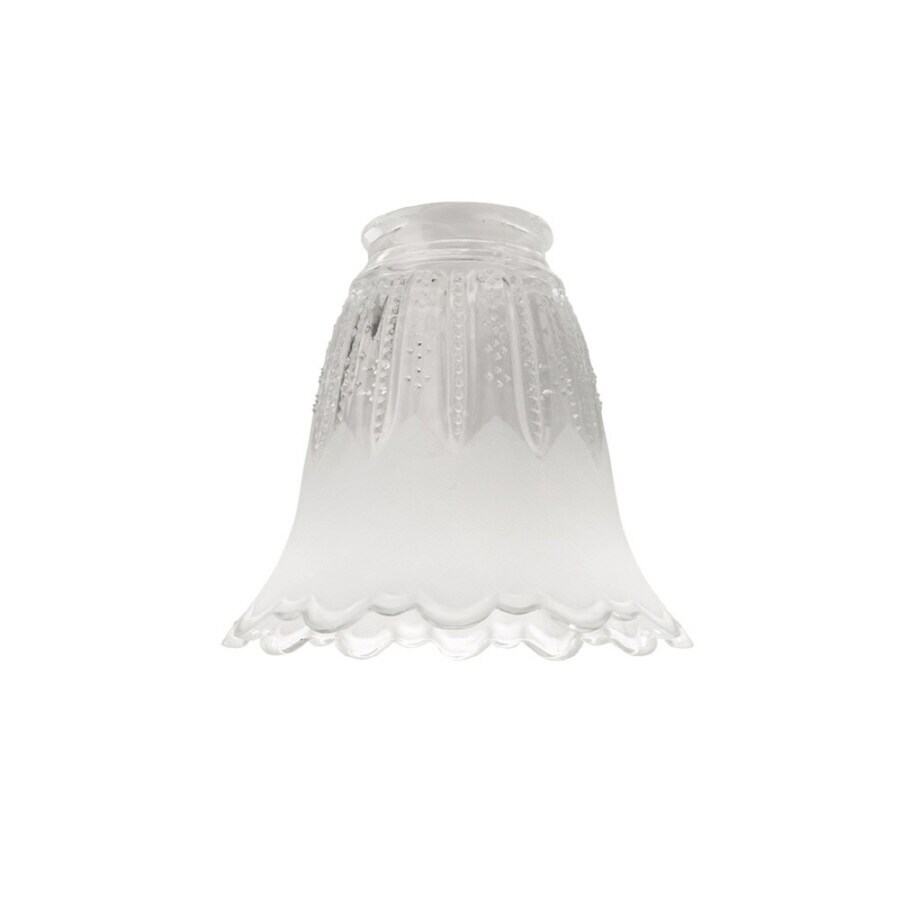 Litex 4.5-in H 4.75-in W Clear/Frost Ribbed Glass Bell Vanity Light Shade
