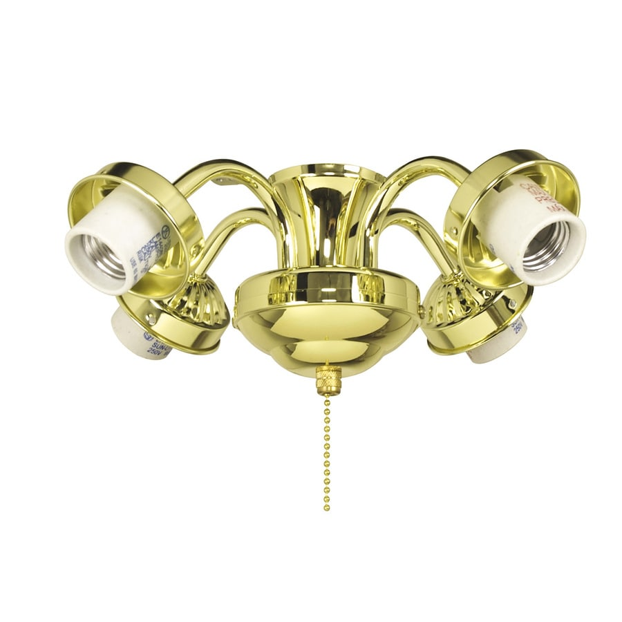 Harbor Breeze 4-Light Bright Brass A-15 , Medium Base Ceiling Fan Light Kit with Glass or Shade