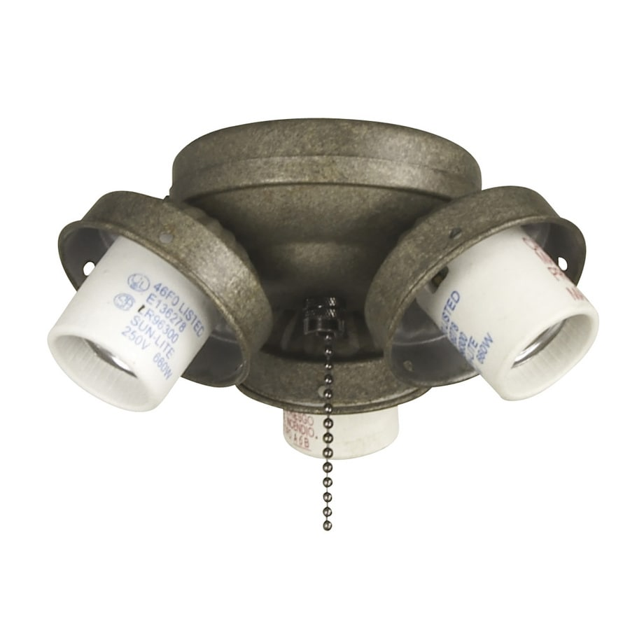 Litex 3-Light Vintage Pewter Ceiling Fan Light Kit with Shade Included Glass or Shade