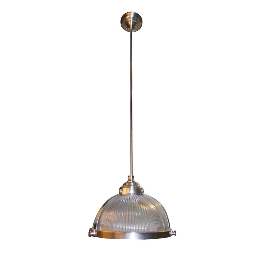 shop allen roth 12 in satin nickel vintage mini clear glass dome pendant at. Black Bedroom Furniture Sets. Home Design Ideas