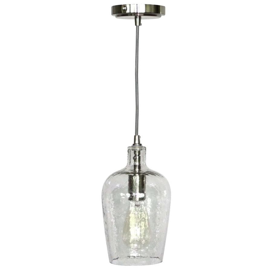 allen + roth 6-in Brushed Nickel Hardwired Mini Clear Glass Bell Standard Pendant