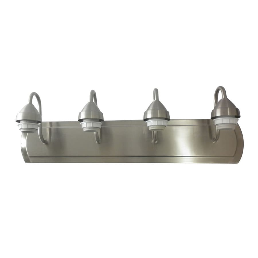 Shop portfolio 4 light 6 in brushed nickel vanity light for Bathroom lighting fixtures