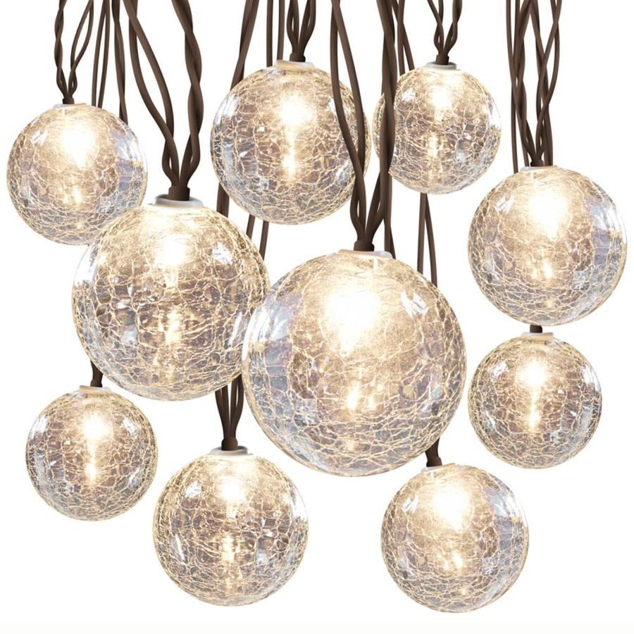 Lowes Outdoor String Lights : Shop allen + roth 8.5-ft 10-Light White Crackle Glass-Shade Plug-in Globe String Lights at Lowes.com