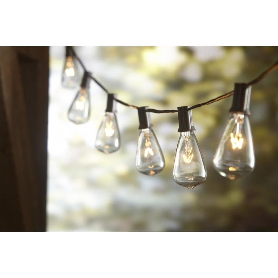 Outdoor Patio String Lights Lowes: Allen + Roth 13-ft 10-Light Plug-In Bulbs String Lights At