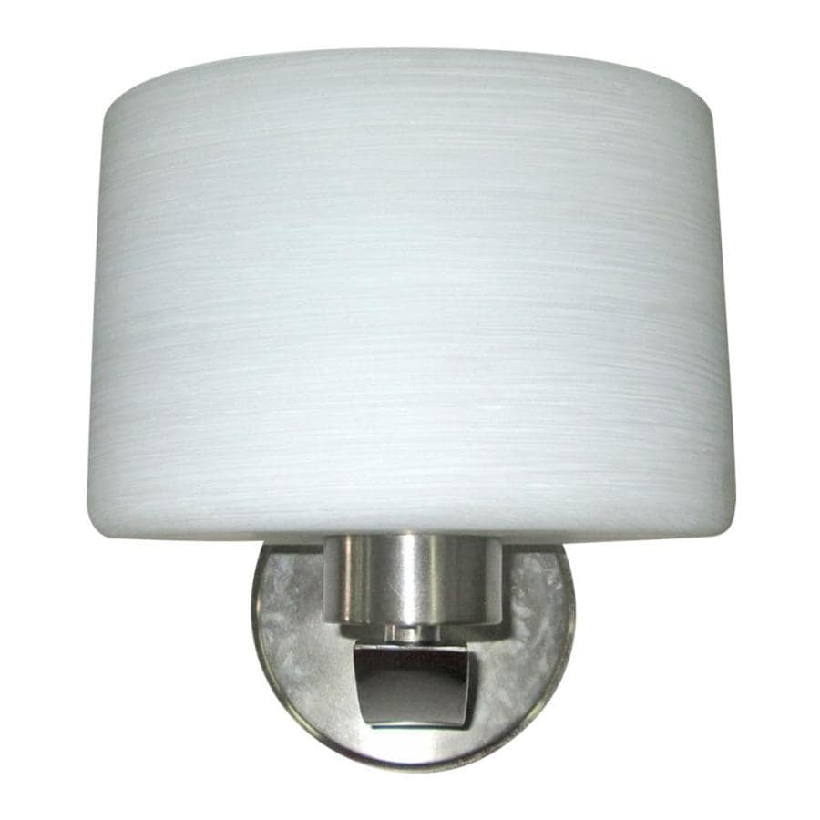 Shop Portfolio Merington 8-in W 1-Light Brushed nickel Arm Wall ...