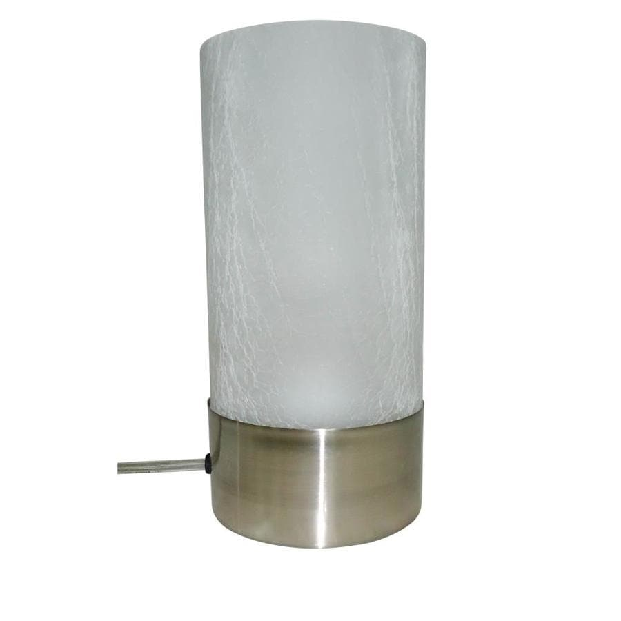 Portfolio 10 In Brushed Nickel Electrical Outlet Touch Stick Table Lamp  With Glass Shade
