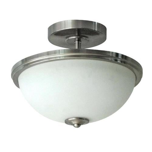 Project Source Bellrose 13 In Brushed Nickel Transitional Led Semi Flush Mount Light Energy Star In The Flush Mount Lighting Department At Lowes Com
