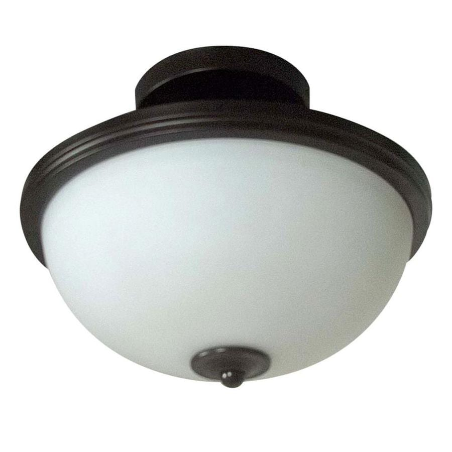 Project Source Bellrose 13-in W Bronze Frosted Glass LED Semi-Flush Mount Light