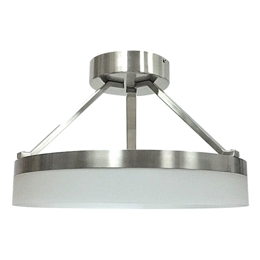 style selections lynnpark w brushed nickel frosted glass led semi flush mount light at. Black Bedroom Furniture Sets. Home Design Ideas