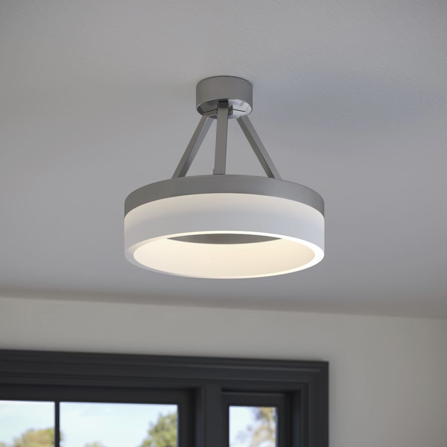 Origin 21 Lynnpark 11 95 In Brushed Nickel Modern Contemporary Led Semi Flush Mount Light In The Flush Mount Lighting Department At Lowes Com