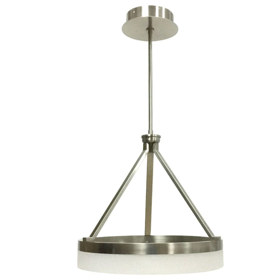 Style Selections Lynnpark 23.76-in Brushed Nickel Hardwired Single Cylinder LED Pendant