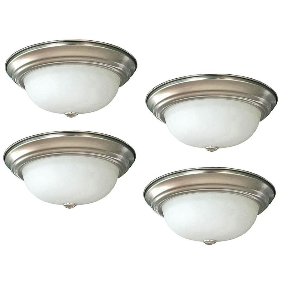 Project Source 4-Pack 11-in W Brushed nickel LED Flush Mount Light ENERGY STAR