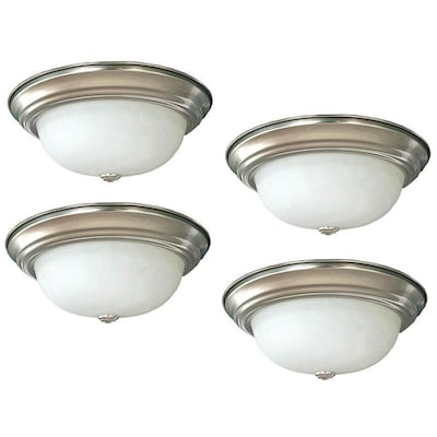 4 Pack 11 In Brushed Nickel Transitional Integrated Led Flush Mount Light Energy Star