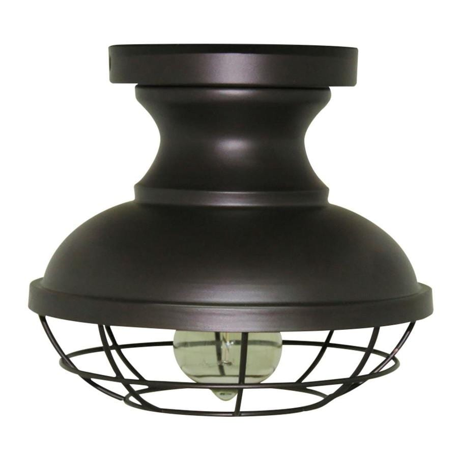 Shop allen + roth 8.4-in W Bronze Metal Semi-Flush Mount Light at Lowes.com