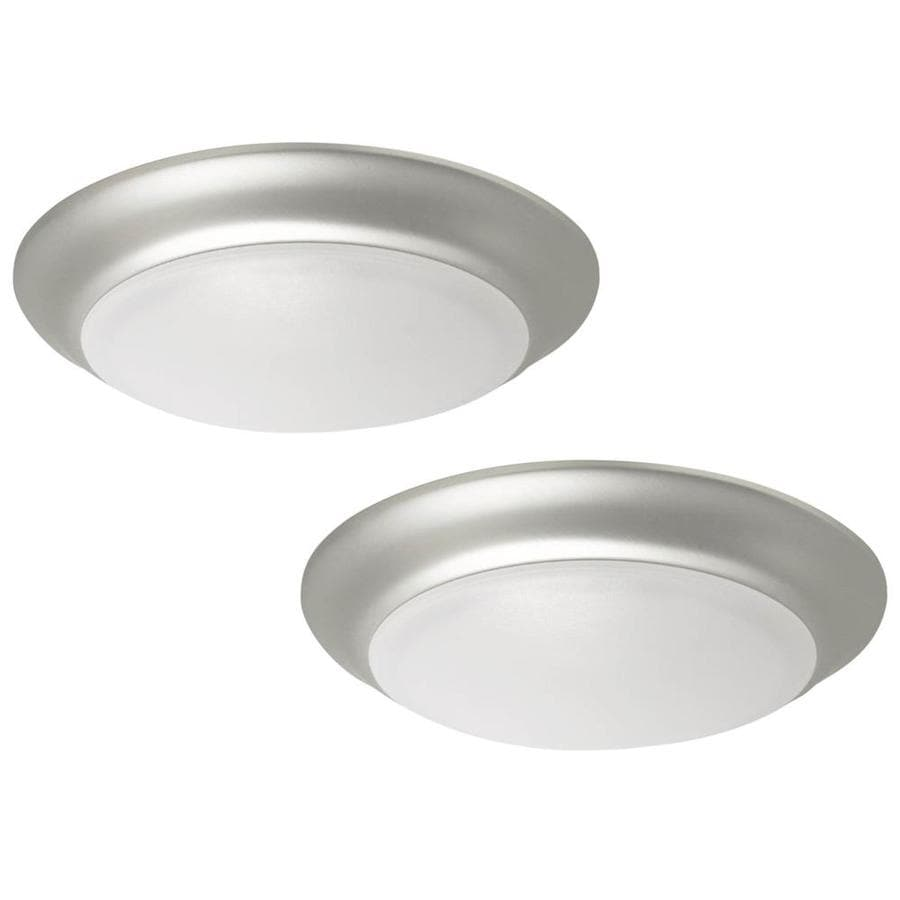 Project Source 2-Pack 11-in W Brushed Nickel Integrated Led Flush Mount Lights