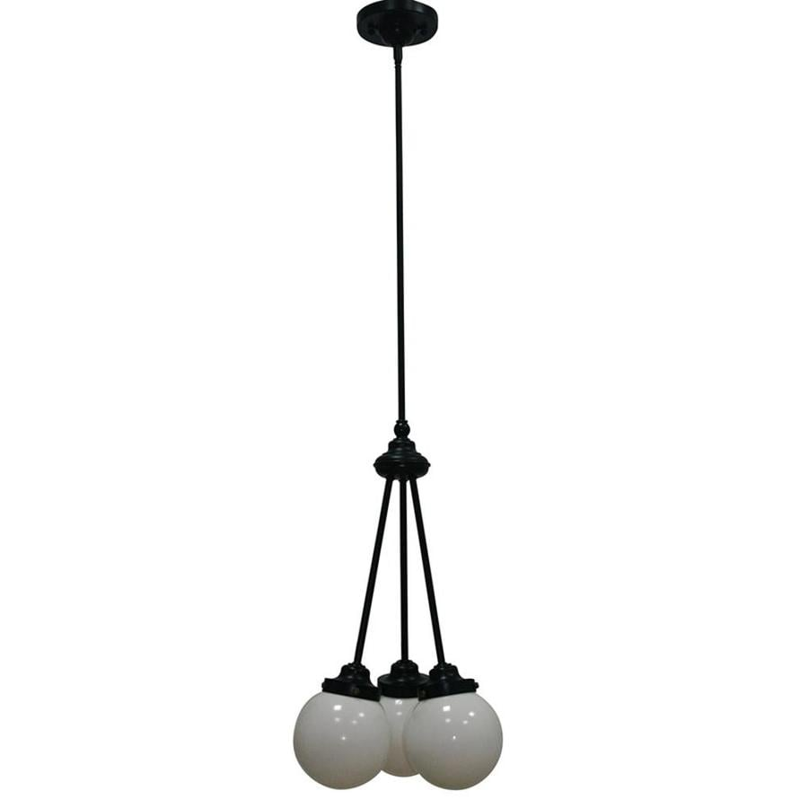 allen + roth Webner 12.75-in 3-Light Bronze Globe Chandelier