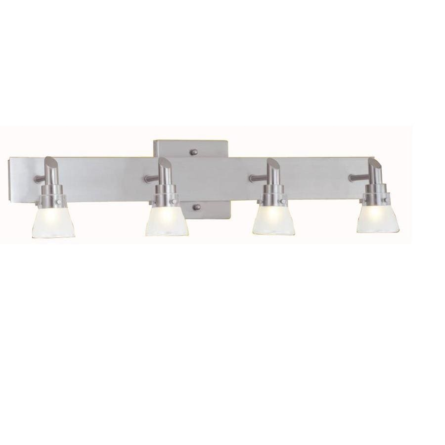 Shop portfolio 4 light 5 6 in brushed nickel bell vanity for Bathroom vanity lights