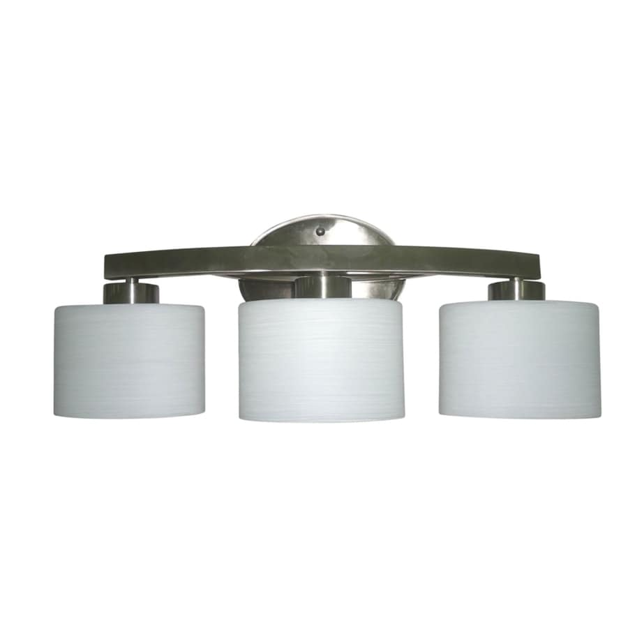 Shop allen roth merington 3 light 9 in brushed nickel for Bathroom vanity fixtures