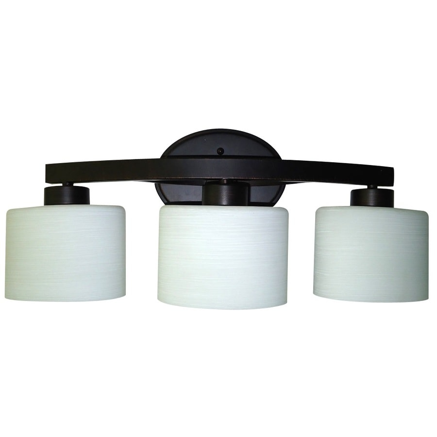 Bathroom Vanity Lights In Bronze shop allen + roth merington 3-light 9-in aged bronze vanity light