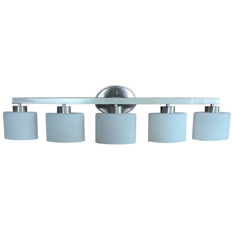 Shop Allen Roth Merington 5 Light 37 5 In Brushed Nickel Vanity Light Bar At Lowes Com