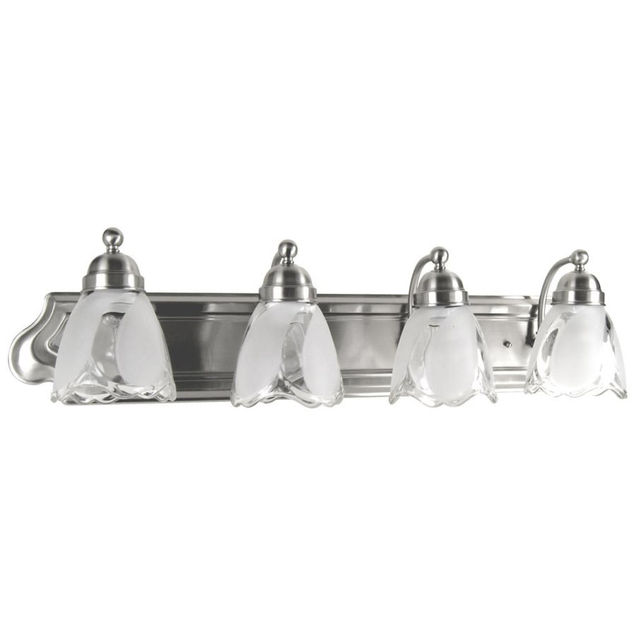 Vanity Light With Outlet Lowes : Shop Portfolio 4-Light 7.25-in Satin Nickel Bell Vanity Light Bar at Lowes.com