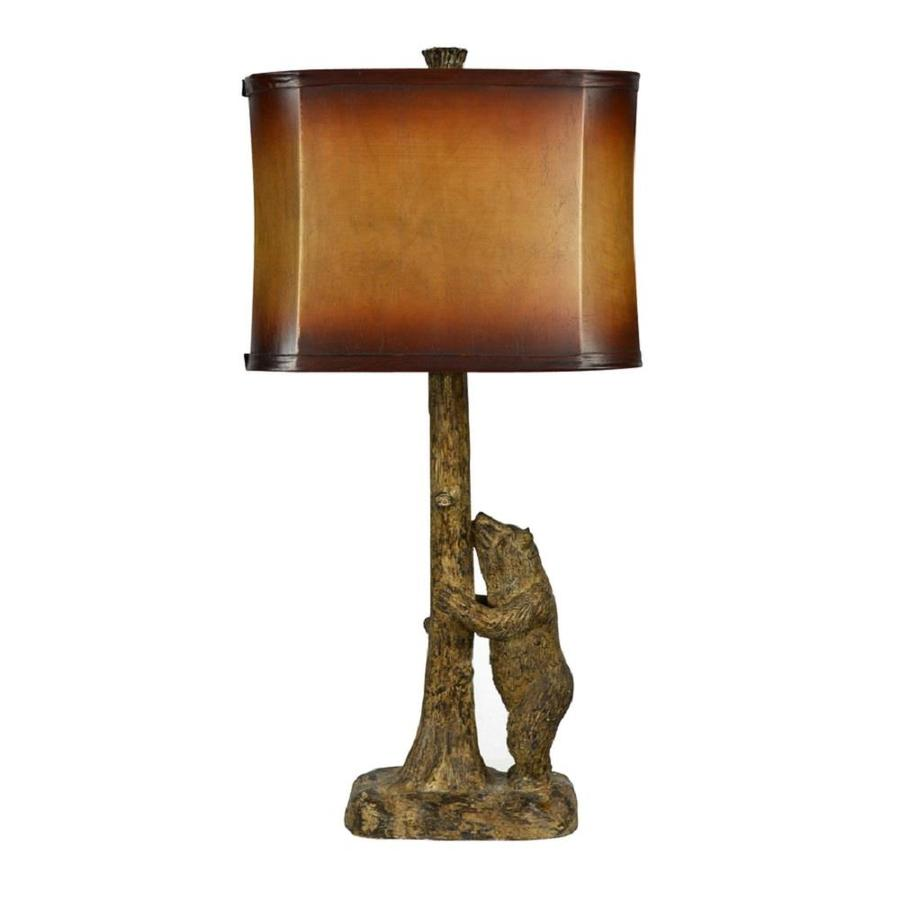 Litex 27.5-in Brown 3-way Table Lamp with Fabric Shade