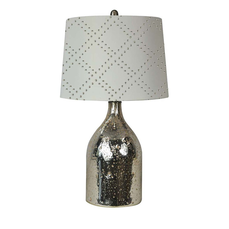Litex 27 In Silver Table Lamp With Fabric Shade