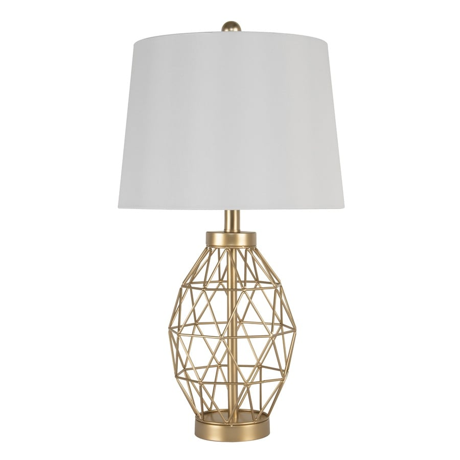 Scott Living 25 5 In Gold Table Lamp With Fabric Shade In The Table Lamps Department At Lowes Com