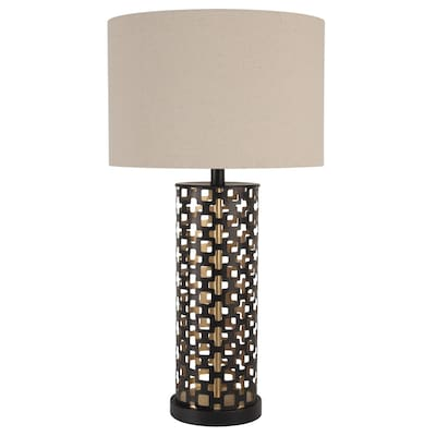Scott Living 28 In Blacl Gold Table Lamp With Fabric Shade