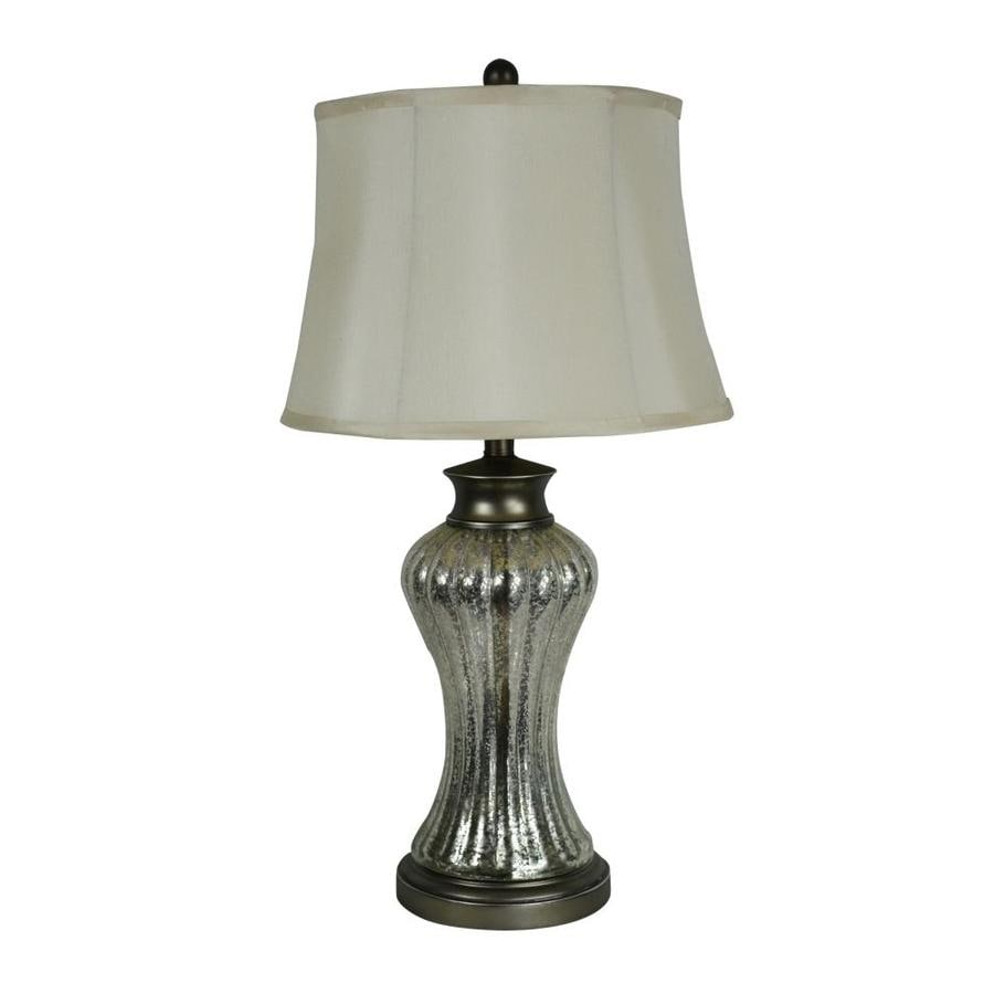 Portfolio 28-in Pewter Electrical Outlet 3-Way Table Lamp with Fabric Shade