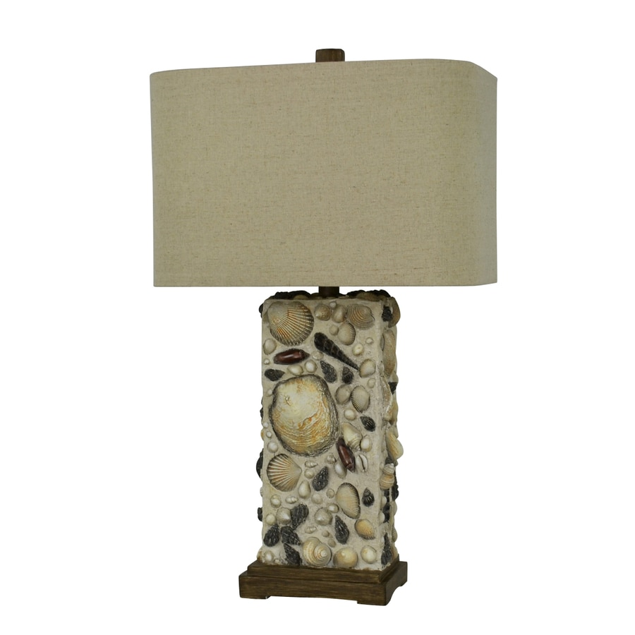 Litex 26-in 3-Way Shell and Sand Indoor Table Lamp with Fabric Shade