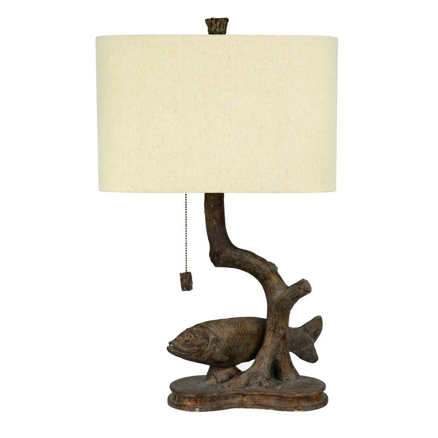Litex 25 In Walnut Electrical Outlet On/Off Switch Table Lamp With Fabric  Shade