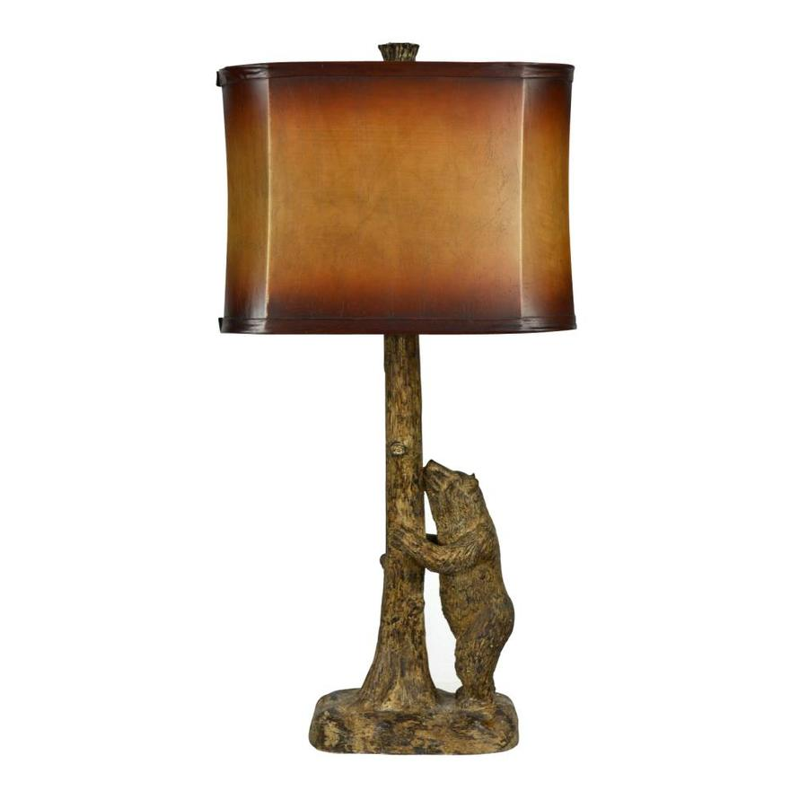 Litex 27.5-in Walnut Electrical Outlet 3-Way Table Lamp with Fabric Shade