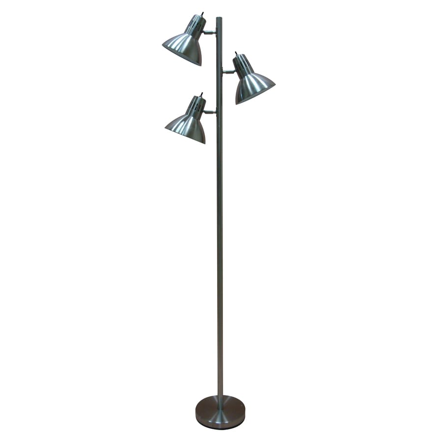 shop floor lamps at lowescom - allen  roth embleton in brushed nickel multihead floor lamp with metal