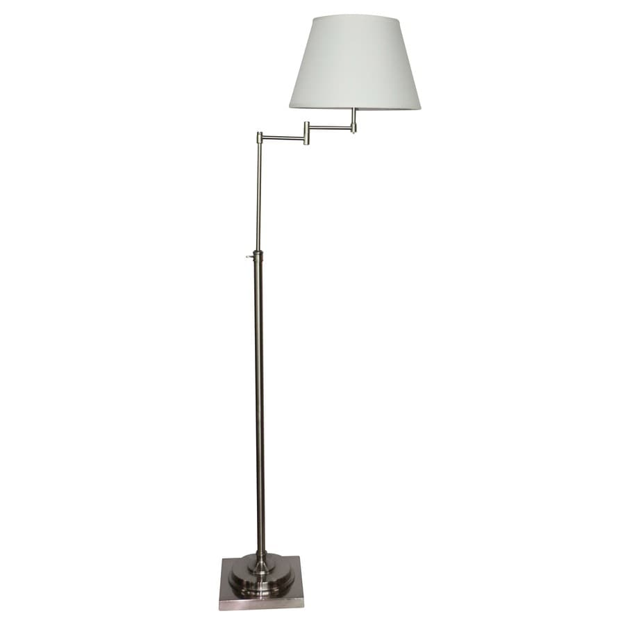 Allen Roth Hillam 64 In Brushed Nickel Swing Arm Floor Lamp With Fabric