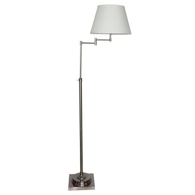 Hillam 64 In Brushed Nickel Swing Arm Floor Lamp