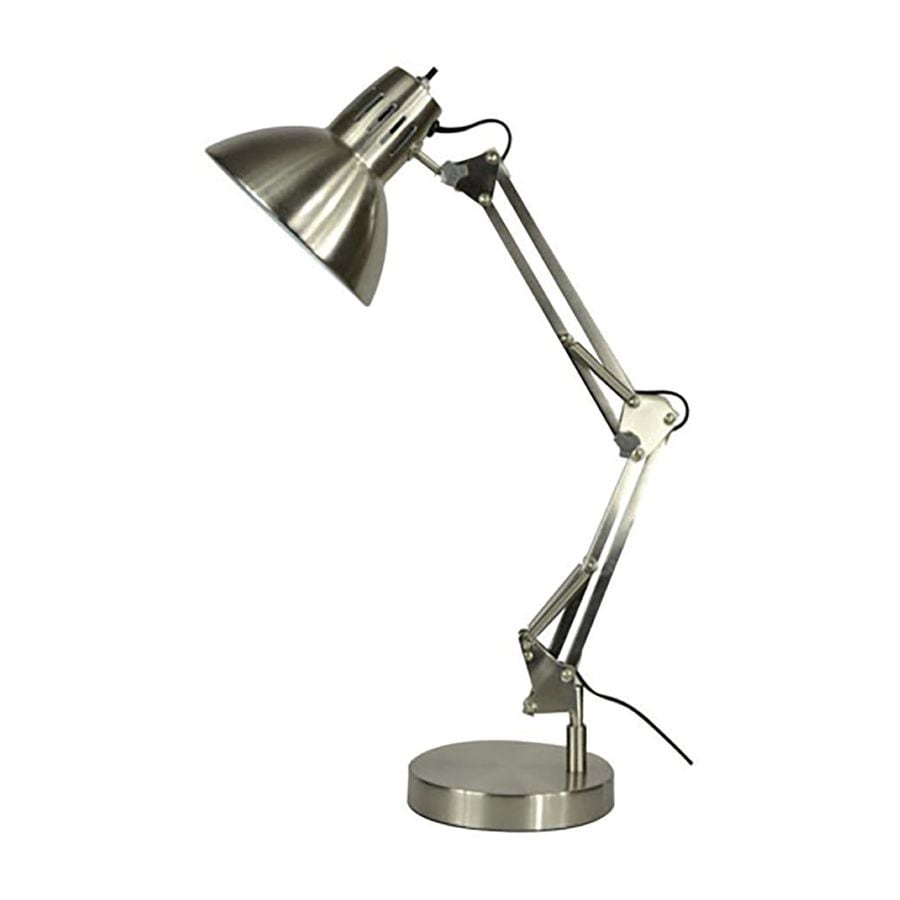 allen + roth Embleton 26-in Adjustable Brushed Nickel Desk Lamp with Metal Shade