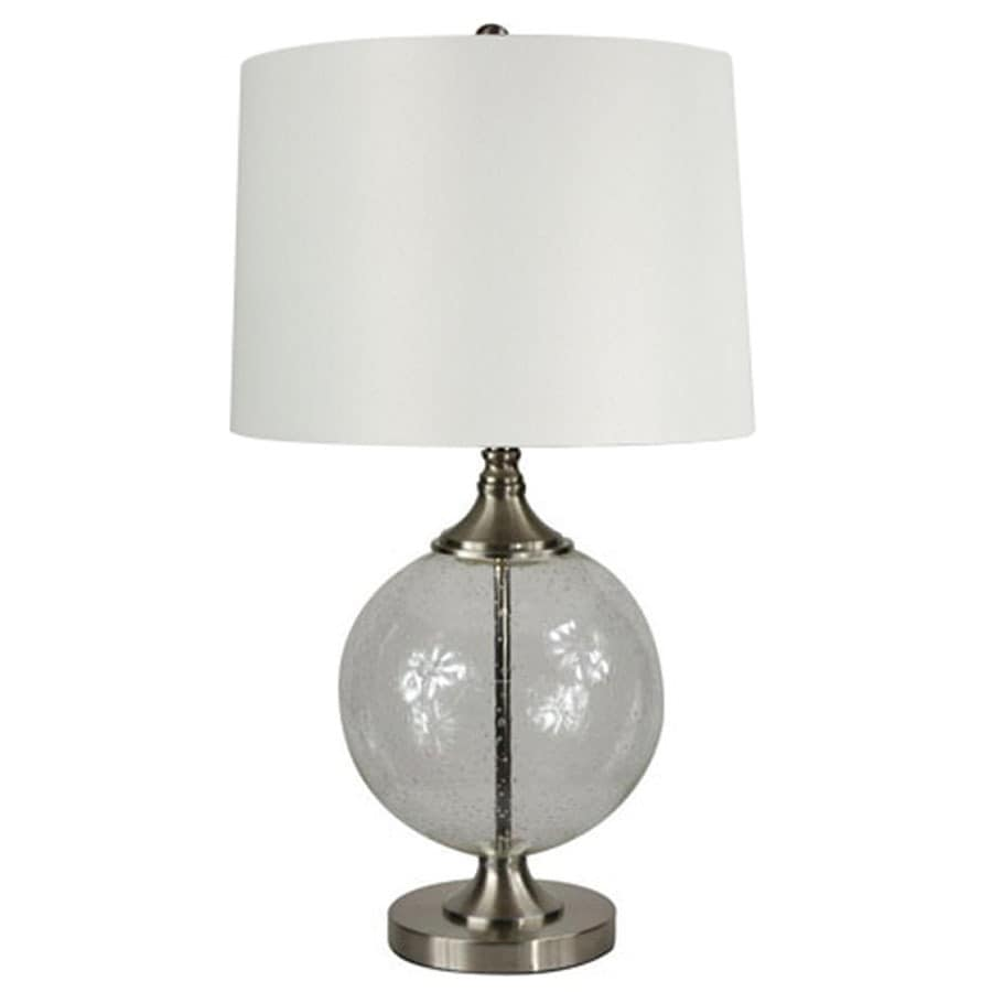 allen + roth Lenihan 27.5-in Brushed Nickel Indoor Table Lamp with Fabric Shade