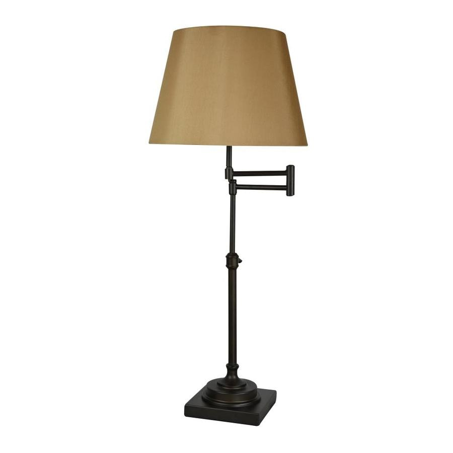 allen + roth Hillam 31-in Bronze Electrical Outlet On/Off Switch Swing-Arm Table Lamp with Fabric Shade