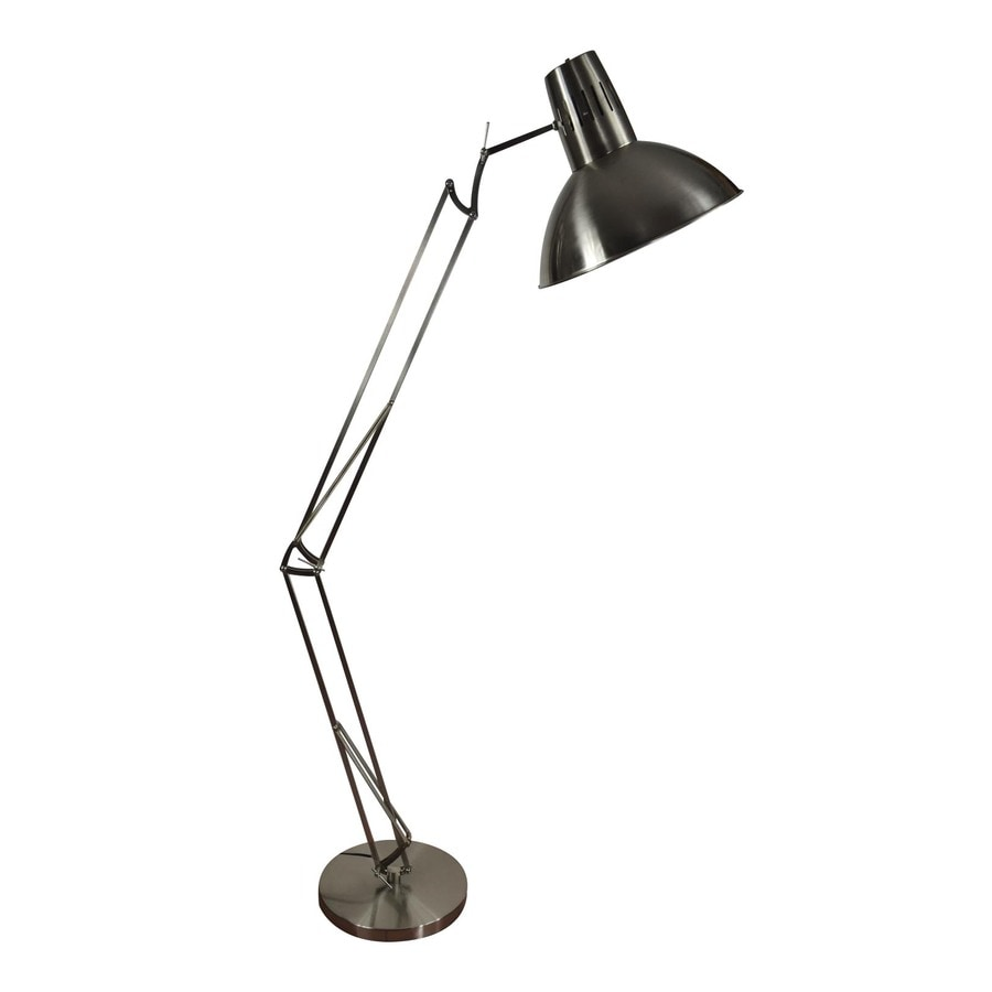 allen + roth Embleton 73-in Brushed Nickel Shaded Indoor Floor Lamp with Metal Shade