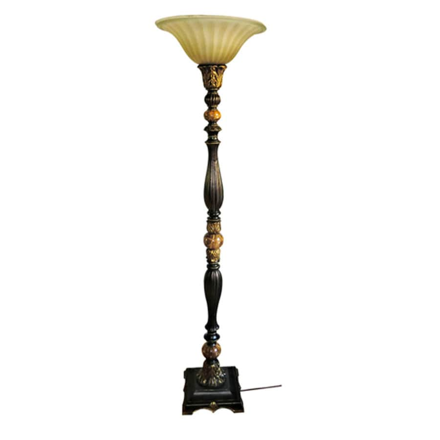 Portfolio Barada 72 In Bronze With Gold Highlights Foot Switch Torchiere Floor Lamp Glass