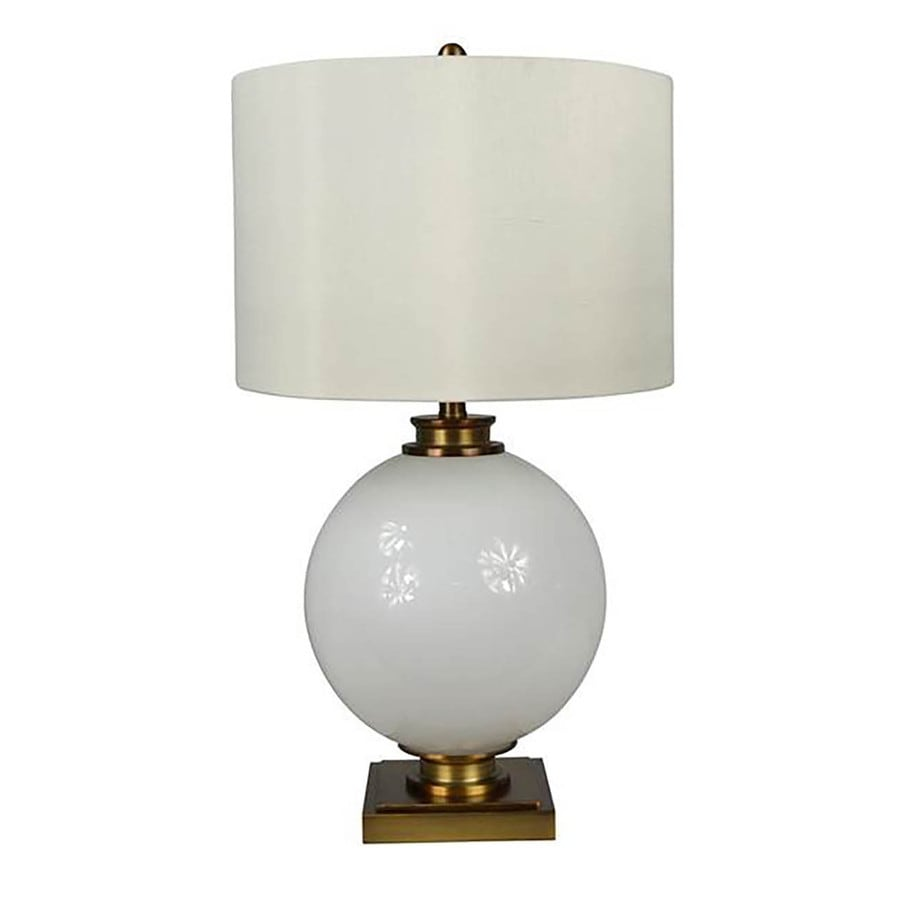 allen + roth Calday 27.5-in 3-Way Brass Indoor Table Lamp with Fabric Shade
