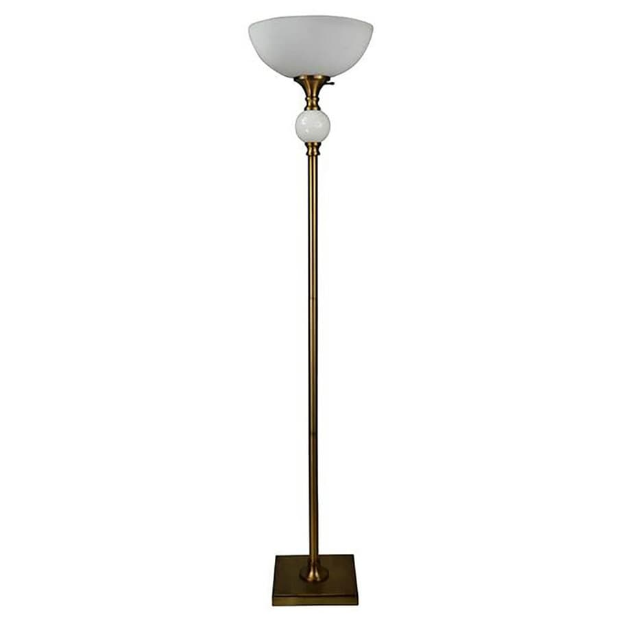allen + roth Calday 72-in Brass Electrical Outlet 3-Way Torchiere Floor Lamp with Glass Shade